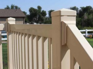 Up close view of vinyl railing on a porch