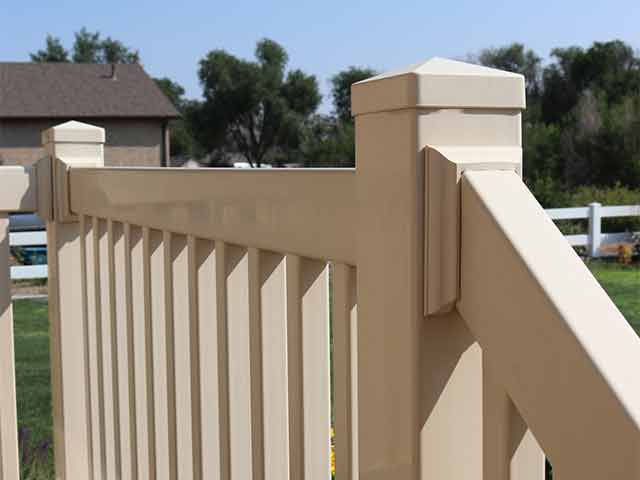 Tan vinyl porch railing