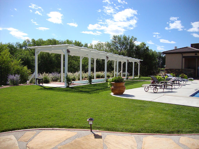 Shuffleboard court with vinyl pergola