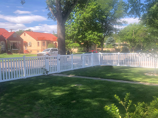 White vinyl closed picket fencing